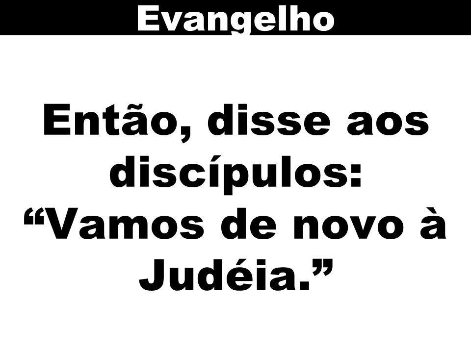 Então, disse aos discípulos: Vamos de novo à Judéia. Evangelho