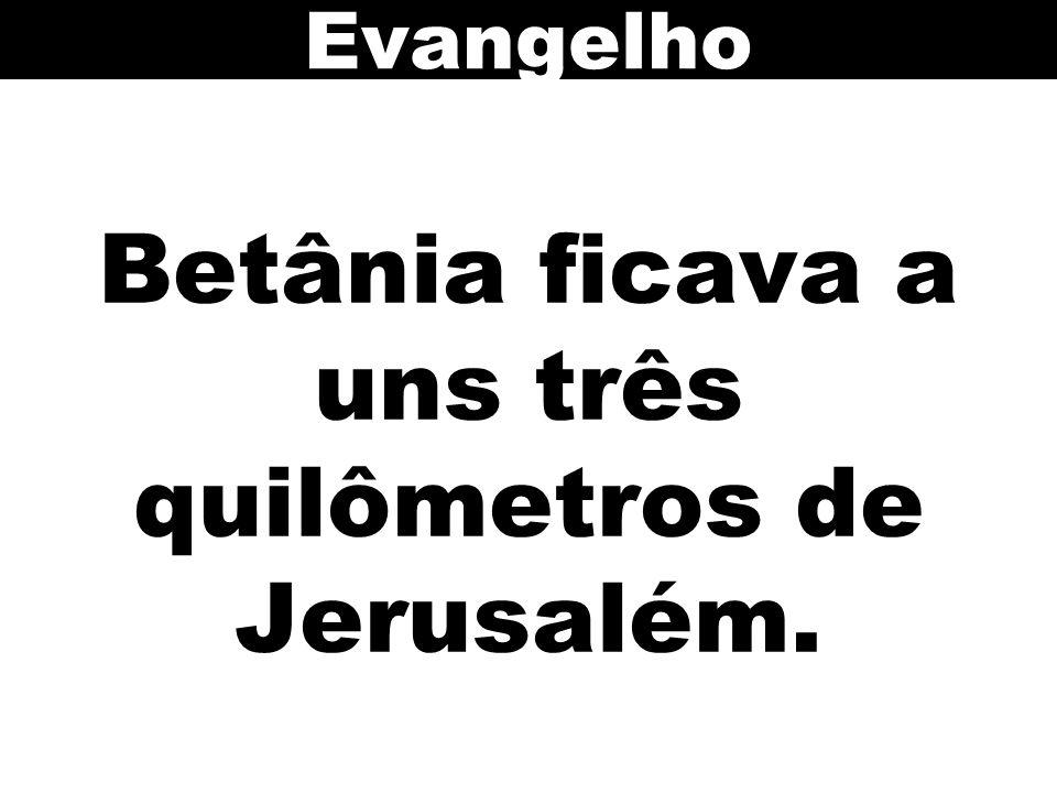 Betânia ficava a uns três quilômetros de Jerusalém. Evangelho