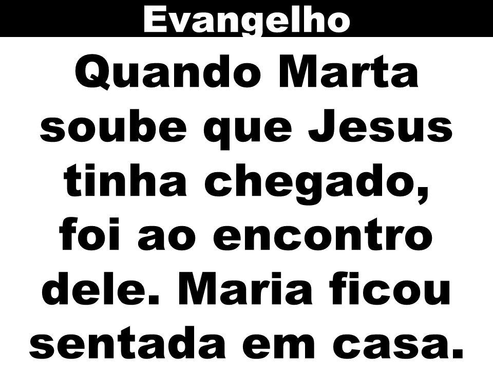 Quando Marta soube que Jesus tinha chegado, foi ao encontro dele. Maria ficou sentada em casa. Evangelho
