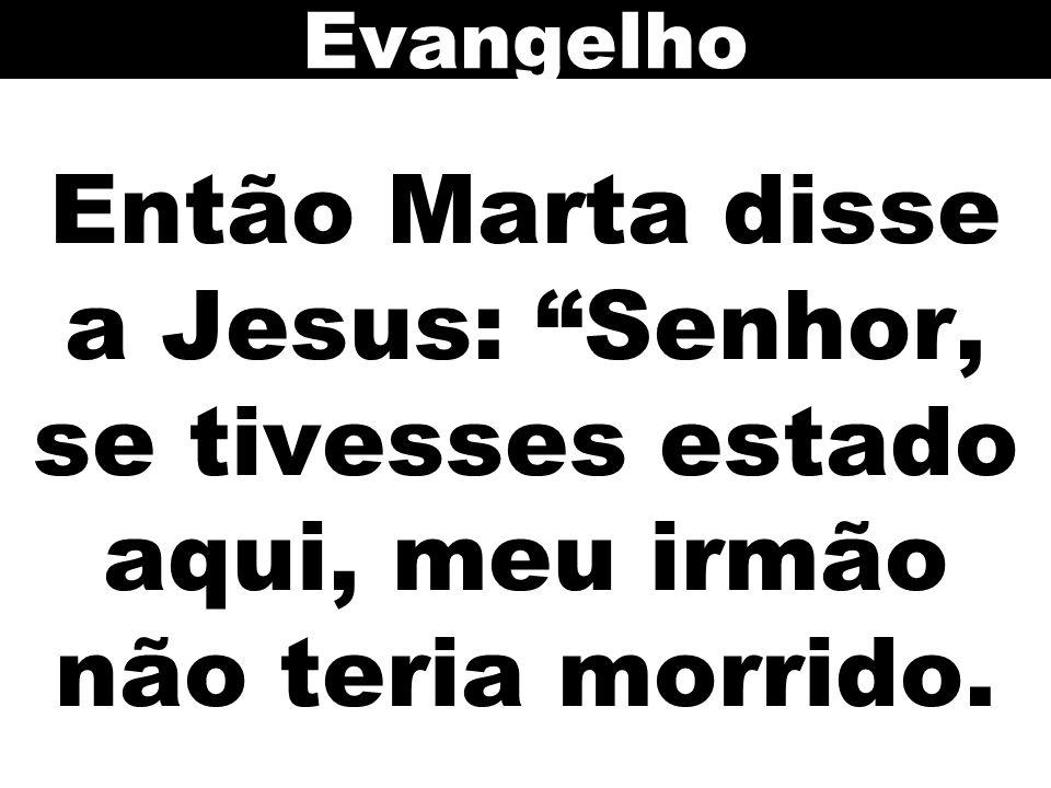 Então Marta disse a Jesus: Senhor, se tivesses estado aqui, meu irmão não teria morrido. Evangelho