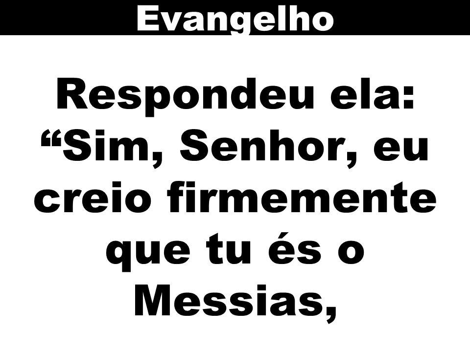Respondeu ela: Sim, Senhor, eu creio firmemente que tu és o Messias, Evangelho