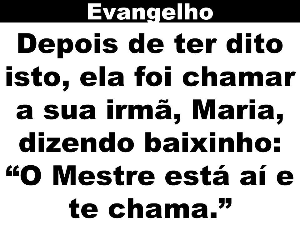 Depois de ter dito isto, ela foi chamar a sua irmã, Maria, dizendo baixinho: O Mestre está aí e te chama. Evangelho
