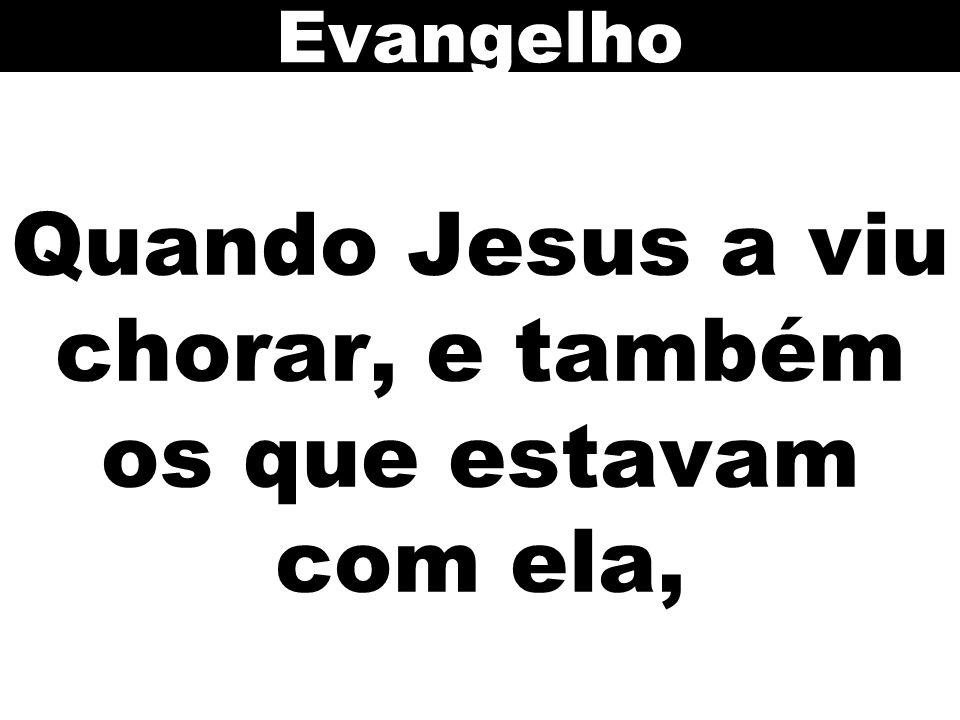 Quando Jesus a viu chorar, e também os que estavam com ela, Evangelho