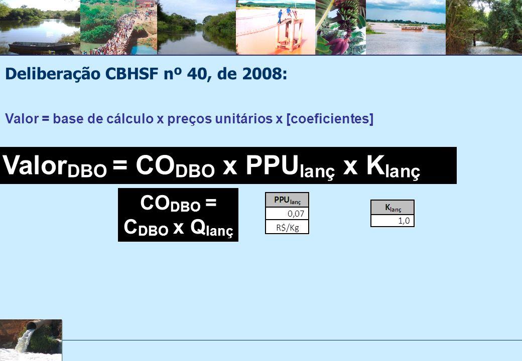 Deliberação CBHSF nº 40, de 2008: Valor DBO = CO DBO x PPU lanç x K lanç CO DBO = C DBO x Q lanç Valor = base de cálculo x preços unitários x [coeficientes]