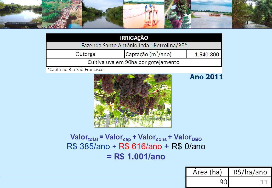 Valor total = Valor cap + Valor cons + Valor DBO R$ 385/ano + R$ 616/ano + R$ 0/ano = R$ 1.001/ano Ano 2011