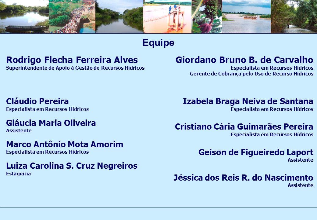 Equipe Rodrigo Flecha Ferreira Alves Superintendente de Apoio à Gestão de Recursos Hídricos Cláudio Pereira Especialista em Recursos Hídricos Gláucia