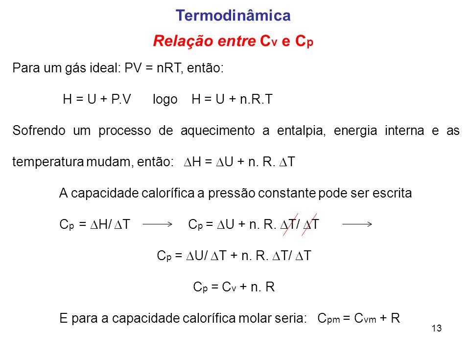 13 Termodinâmica Relação entre C v e C p Para um gás ideal: PV = nRT, então: H = U + P.V logo H = U + n.R.T Sofrendo um processo de aquecimento a enta