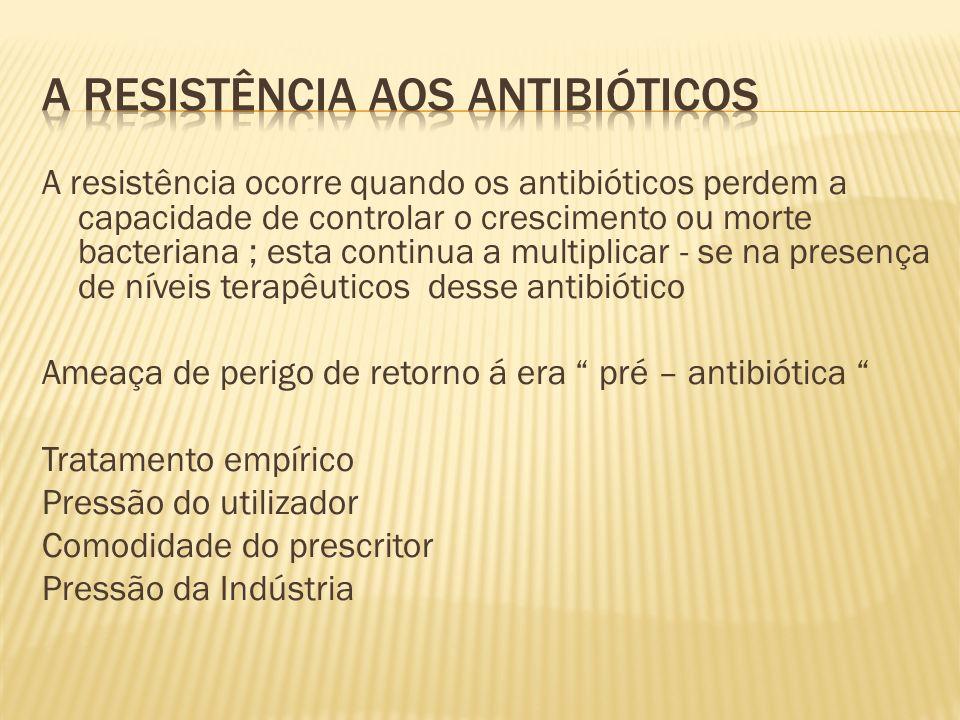 A resistência ocorre quando os antibióticos perdem a capacidade de controlar o crescimento ou morte bacteriana ; esta continua a multiplicar - se na presença de níveis terapêuticos desse antibiótico Ameaça de perigo de retorno á era pré – antibiótica Tratamento empírico Pressão do utilizador Comodidade do prescritor Pressão da Indústria
