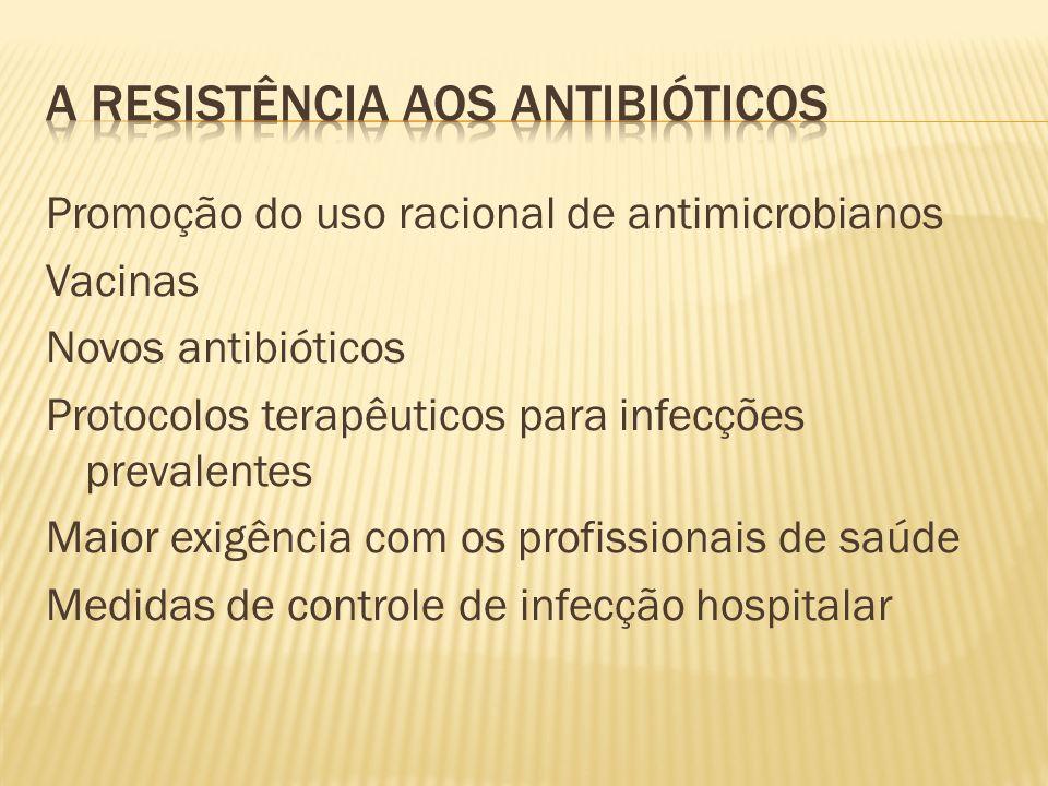 Promoção do uso racional de antimicrobianos Vacinas Novos antibióticos Protocolos terapêuticos para infecções prevalentes Maior exigência com os profissionais de saúde Medidas de controle de infecção hospitalar