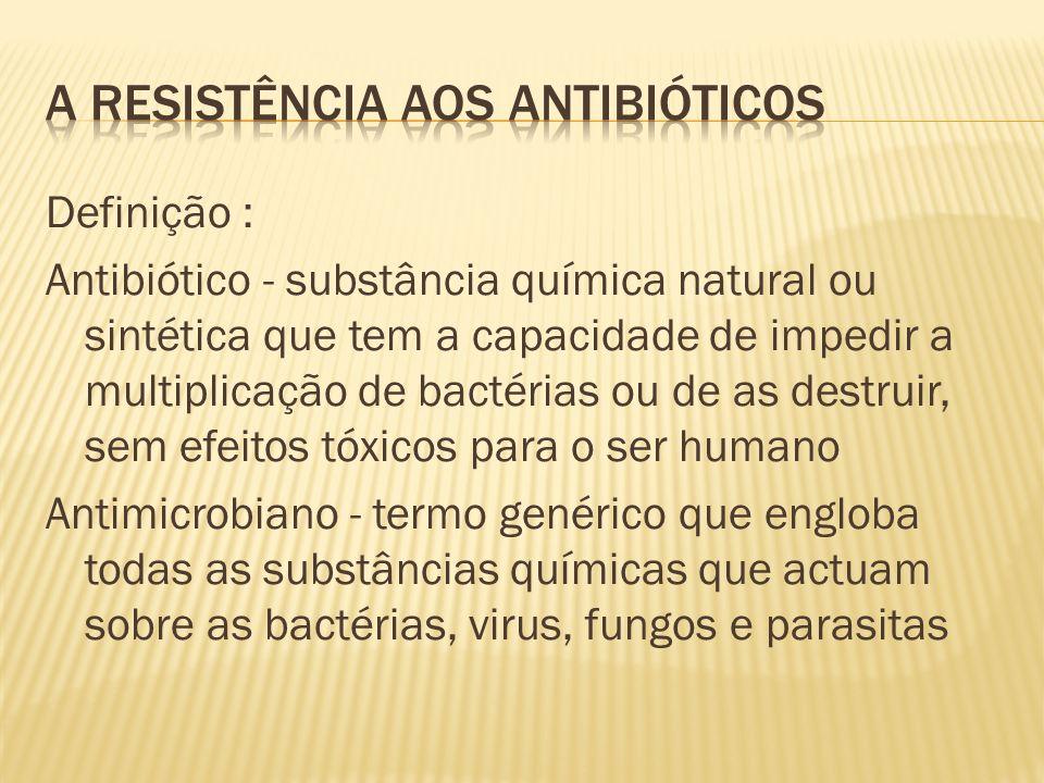 Definição : Antibiótico - substância química natural ou sintética que tem a capacidade de impedir a multiplicação de bactérias ou de as destruir, sem efeitos tóxicos para o ser humano Antimicrobiano - termo genérico que engloba todas as substâncias químicas que actuam sobre as bactérias, virus, fungos e parasitas