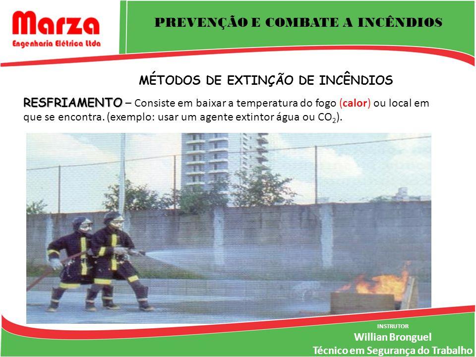 INSTRUTOR Willian Bronguel Técnico em Segurança do Trabalho PREVENÇÃO E COMBATE A INCÊNDIOS MÉTODOS DE EXTINÇÃO DE INCÊNDIOS RESFRIAMENTO RESFRIAMENTO – Consiste em baixar a temperatura do fogo (calor) ou local em que se encontra.