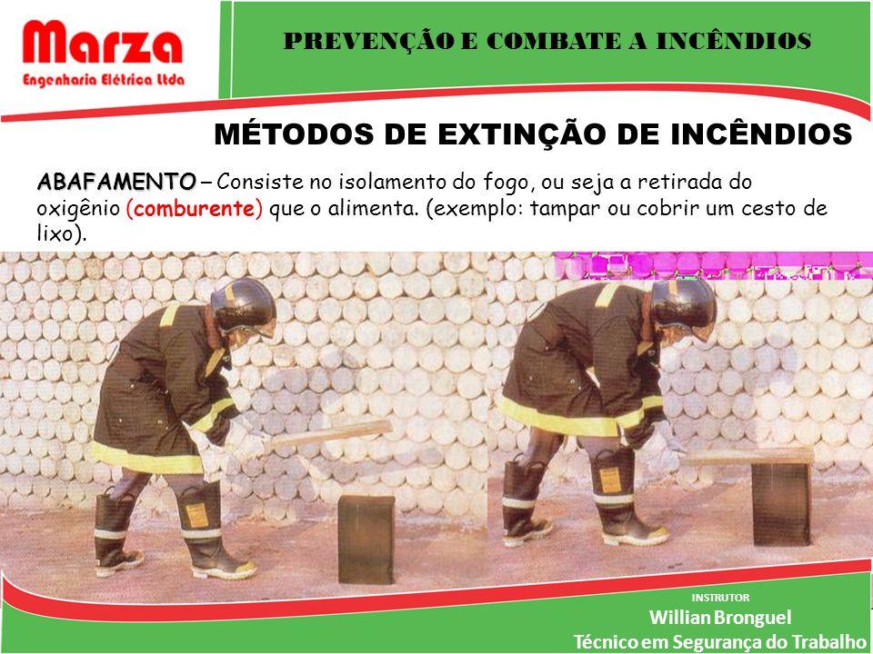 PREVENÇÃO E COMBATE A INCÊNDIOS INSTRUTOR Willian Bronguel Técnico em Segurança do Trabalho MÉTODOS DE EXTINÇÃO DE INCÊNDIOS ABAFAMENTO ABAFAMENTO – Consiste no isolamento do fogo, ou seja a retirada do oxigênio (comburente) que o alimenta.
