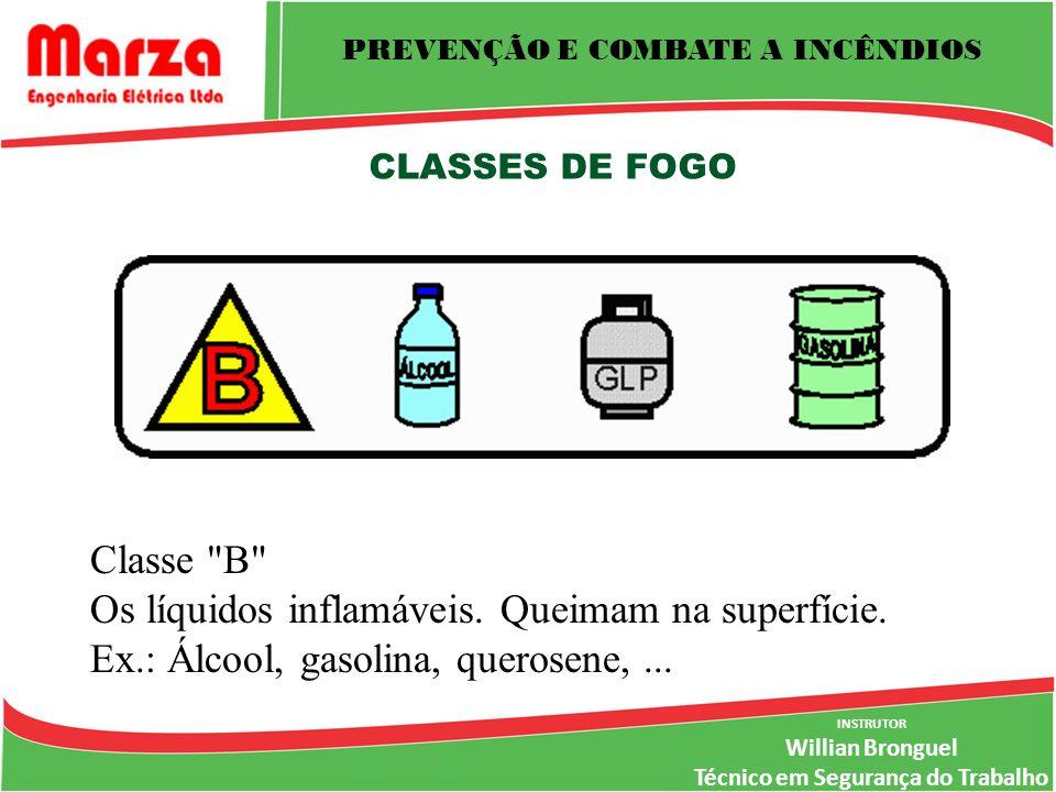 INSTRUTOR Willian Bronguel Técnico em Segurança do Trabalho CLASSES DE FOGO Classe B Os líquidos inflamáveis.