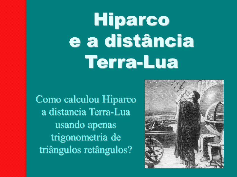 Hiparco e a distância Terra-Lua Como calculou Hiparco a distancia Terra-Lua usando apenas trigonometria de triângulos retângulos?