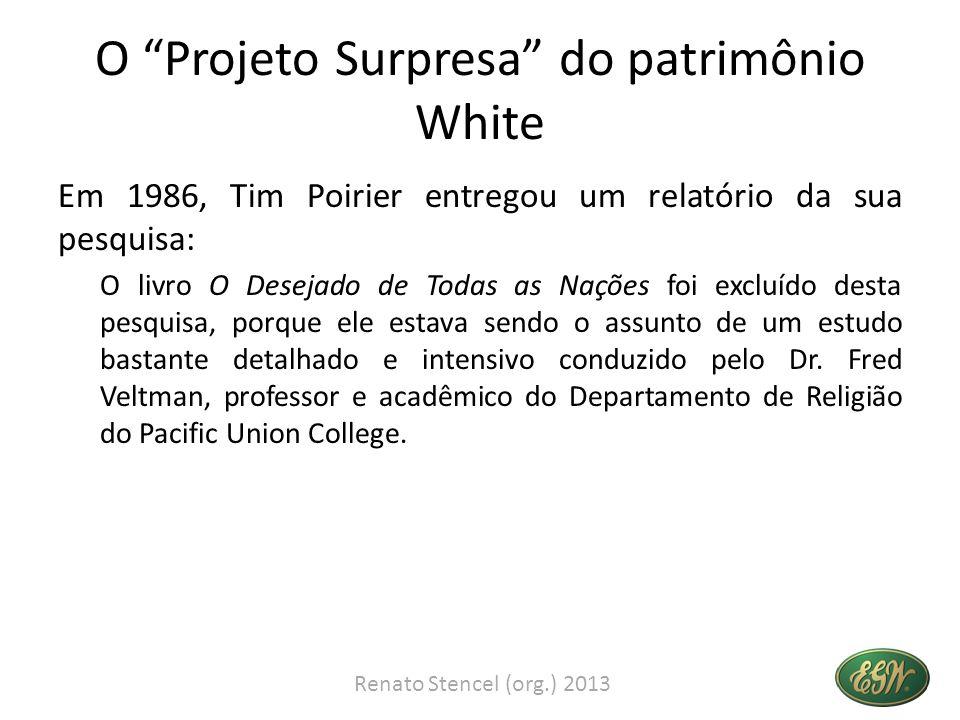 O Projeto Surpresa do patrimônio White Em 1986, Tim Poirier entregou um relatório da sua pesquisa: O livro O Desejado de Todas as Nações foi excluído