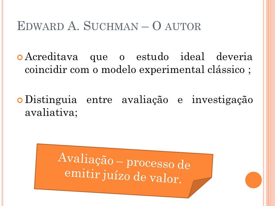 A SPECTOS C ONCEITUAIS DA A VALIAÇÃO Considerava avaliação um processo científico; Método Científico = Objetividade e exatidão Investigação Básica Investigação Avaliativa