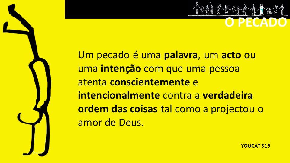 Um pecado é uma palavra, um acto ou uma intenção com que uma pessoa atenta conscientemente e intencionalmente contra a verdadeira ordem das coisas tal