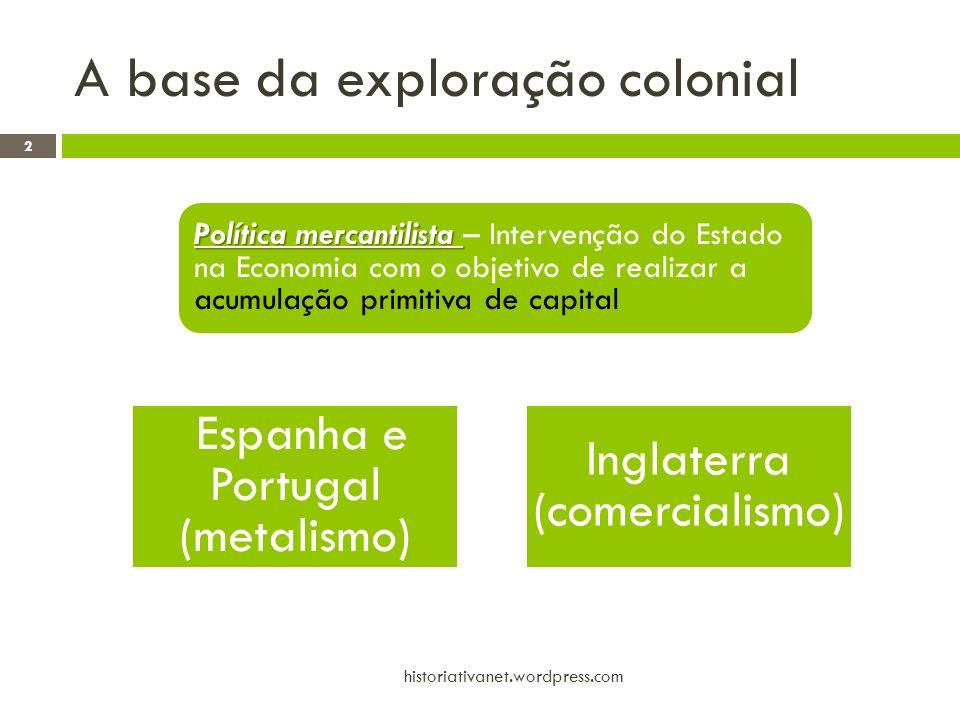 A base da exploração colonial Espanha e Portugal (metalismo) Inglaterra (comercialismo) Política mercantilista Política mercantilista – Intervenção do