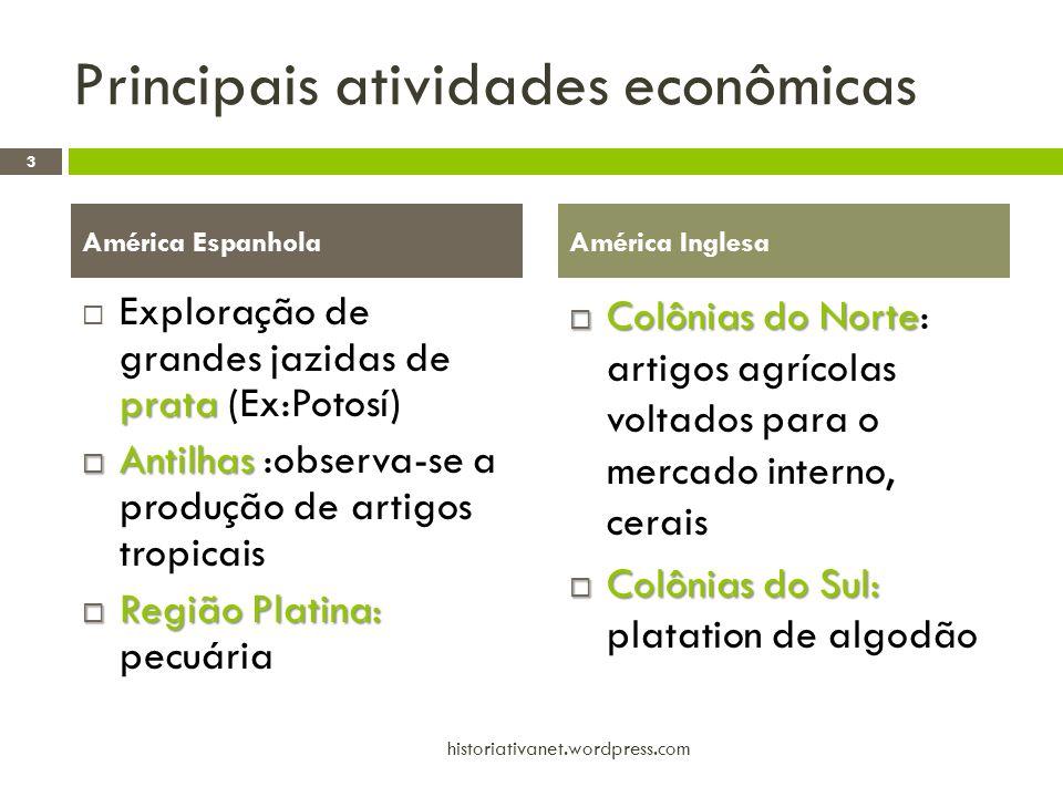 Principais atividades econômicas prata Exploração de grandes jazidas de prata (Ex:Potosí) Antilhas Antilhas :observa-se a produção de artigos tropicai