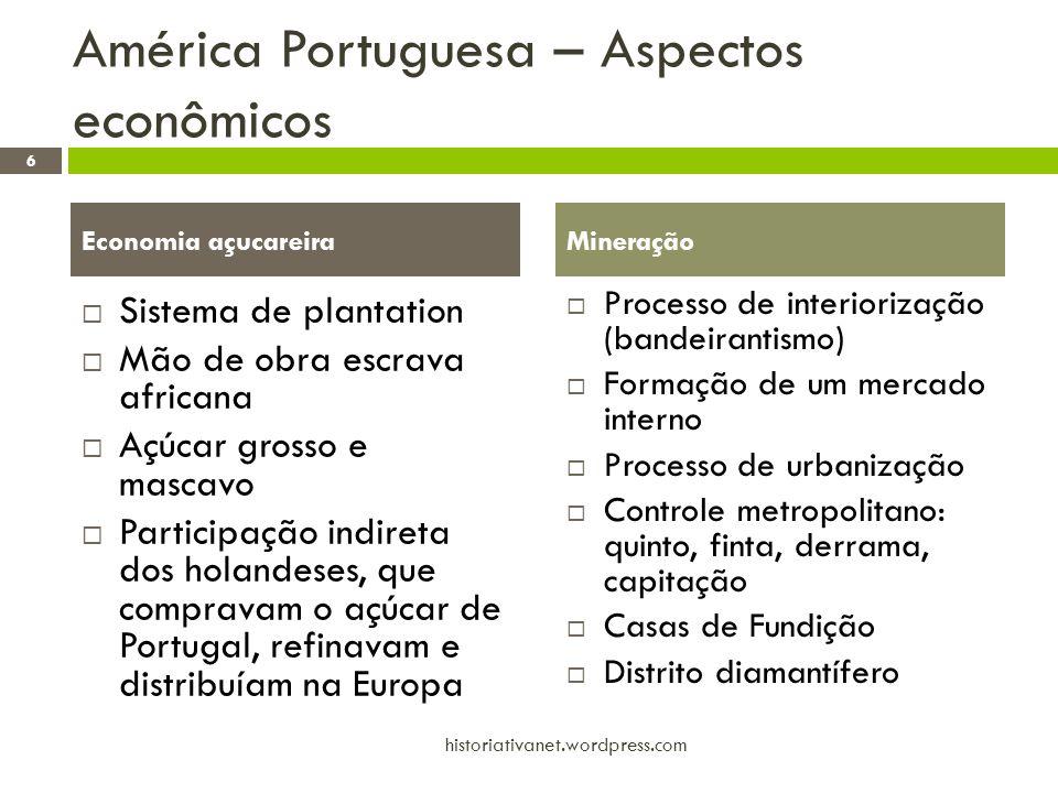 América Portuguesa – Aspectos econômicos Sistema de plantation Mão de obra escrava africana Açúcar grosso e mascavo Participação indireta dos holandes