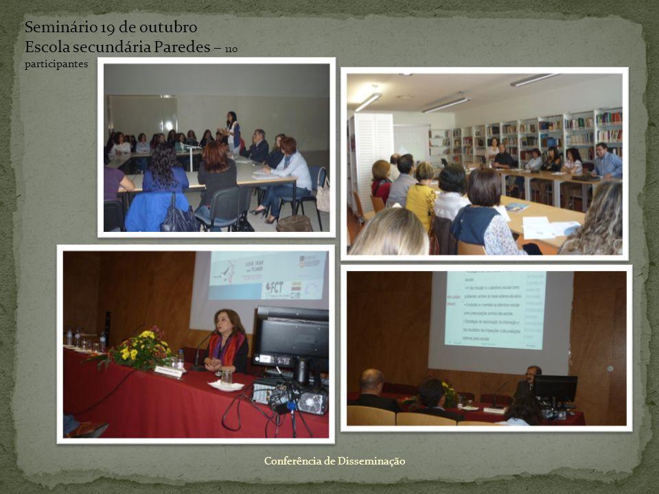 Conferência de Disseminação Seminário 19 de outubro Escola secundária Paredes – 110 participantes