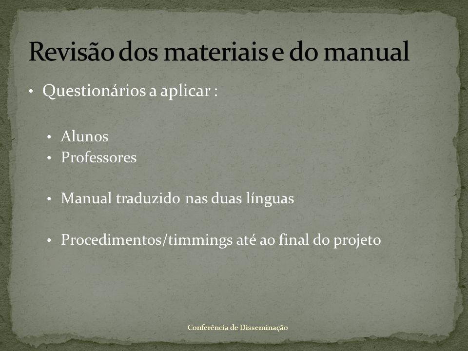 Questionários a aplicar : Alunos Professores Manual traduzido nas duas línguas Procedimentos/timmings até ao final do projeto Conferência de Dissemina