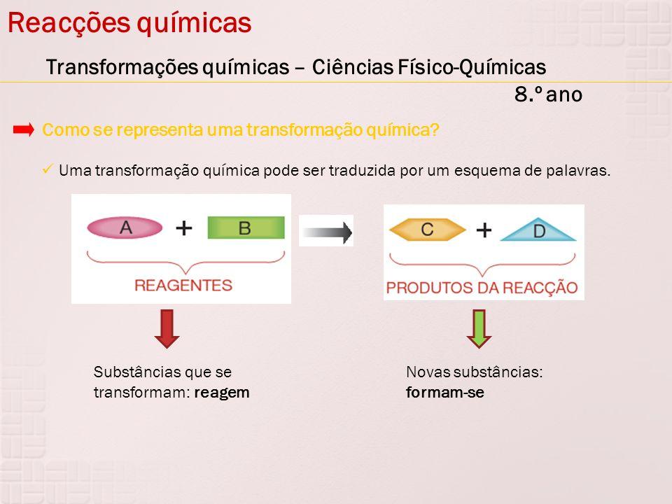 Reacções químicas Transformações químicas – Ciências Físico-Químicas 8.º ano Uma transformação química pode ser traduzida por um esquema de palavras.