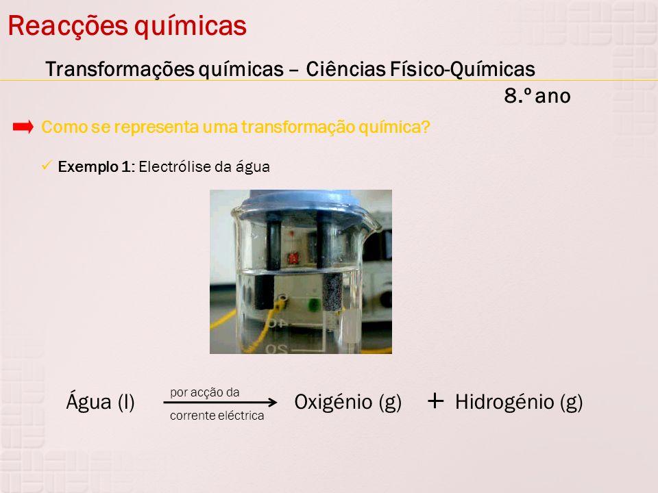Reacções químicas Transformações químicas – Ciências Físico-Químicas 8.º ano Exemplo 1: Electrólise da água Como se representa uma transformação quími