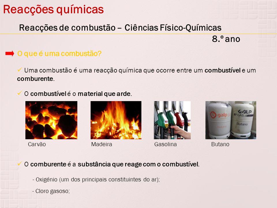Reacções químicas Reacções de combustão – Ciências Físico-Químicas 8.º ano Uma combustão é uma reacção química que ocorre entre um combustível e um co