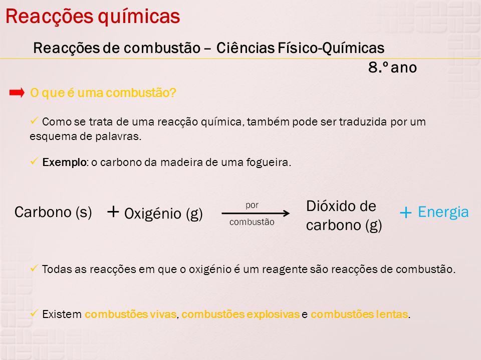 Reacções químicas Reacções de combustão – Ciências Físico-Químicas 8.º ano Como se trata de uma reacção química, também pode ser traduzida por um esqu