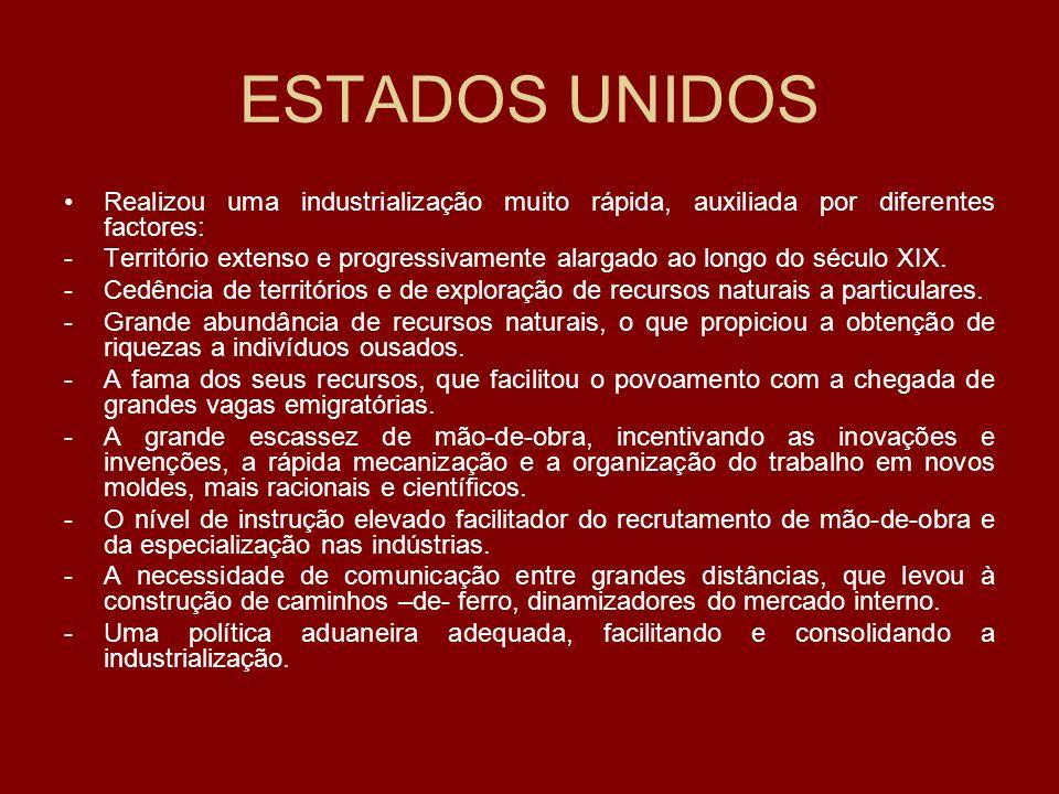ESTADOS UNIDOS Realizou uma industrialização muito rápida, auxiliada por diferentes factores: -Território extenso e progressivamente alargado ao longo