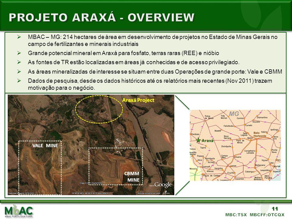 11 MBAC – MG: 214 hectares de área em desenvolvimento de projetos no Estado de Minas Gerais no campo de fertilizantes e minerais industriais Grande po