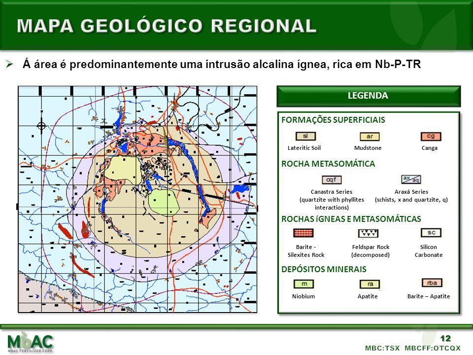12 Á área é predominantemente uma intrusão alcalina ígnea, rica em Nb-P-TR LEGENDA ROCHA METASOMÁTICA ROCHAS íGNEAS E METASOMÁTICAS DEPÓSITOS MINERAIS