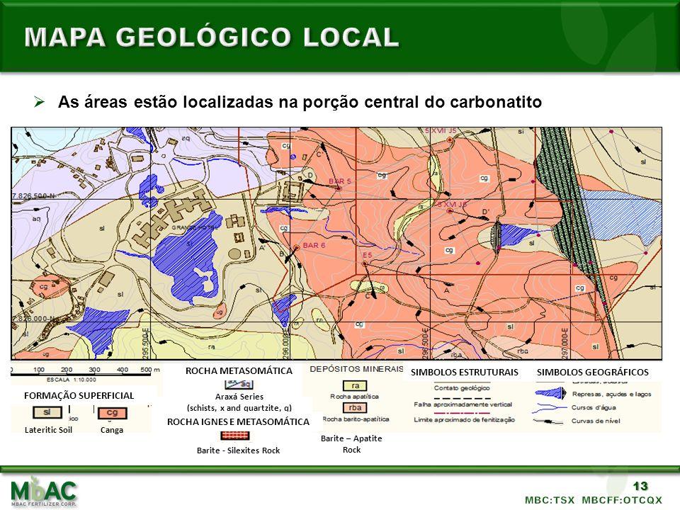 13 As áreas estão localizadas na porção central do carbonatito MINERAL DEPOSITS Apatite Rock Barite – Apatite Rock Barite - Silexites Rock Canga FORMA