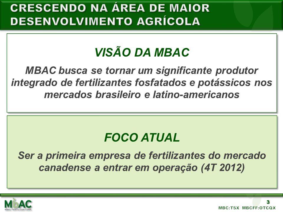 3 VISÃO DA MBAC MBAC busca se tornar um significante produtor integrado de fertilizantes fosfatados e potássicos nos mercados brasileiro e latino-amer