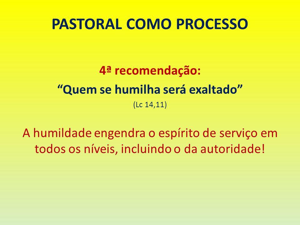 PASTORAL COMO PROCESSO 4ª recomendação: Quem se humilha será exaltado (Lc 14,11) A humildade engendra o espírito de serviço em todos os níveis, inclui