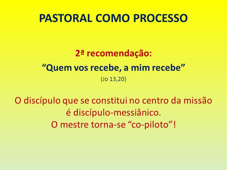 PASTORAL COMO PROCESSO 2ª recomendação: Quem vos recebe, a mim recebe (Jo 13,20) O discípulo que se constitui no centro da missão é discípulo-messiâni