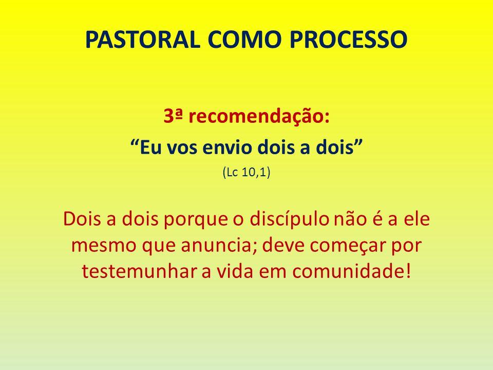 PASTORAL COMO PROCESSO 3ª recomendação: Eu vos envio dois a dois (Lc 10,1) Dois a dois porque o discípulo não é a ele mesmo que anuncia; deve começar