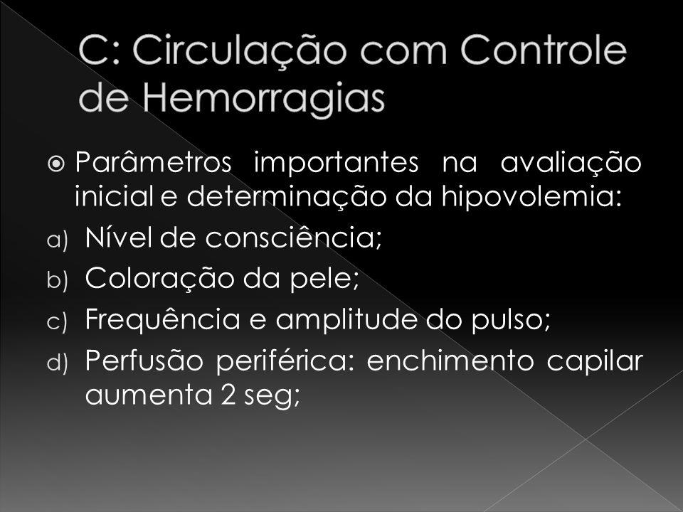 Parâmetros importantes na avaliação inicial e determinação da hipovolemia: a) Nível de consciência; b) Coloração da pele; c) Frequência e amplitude do