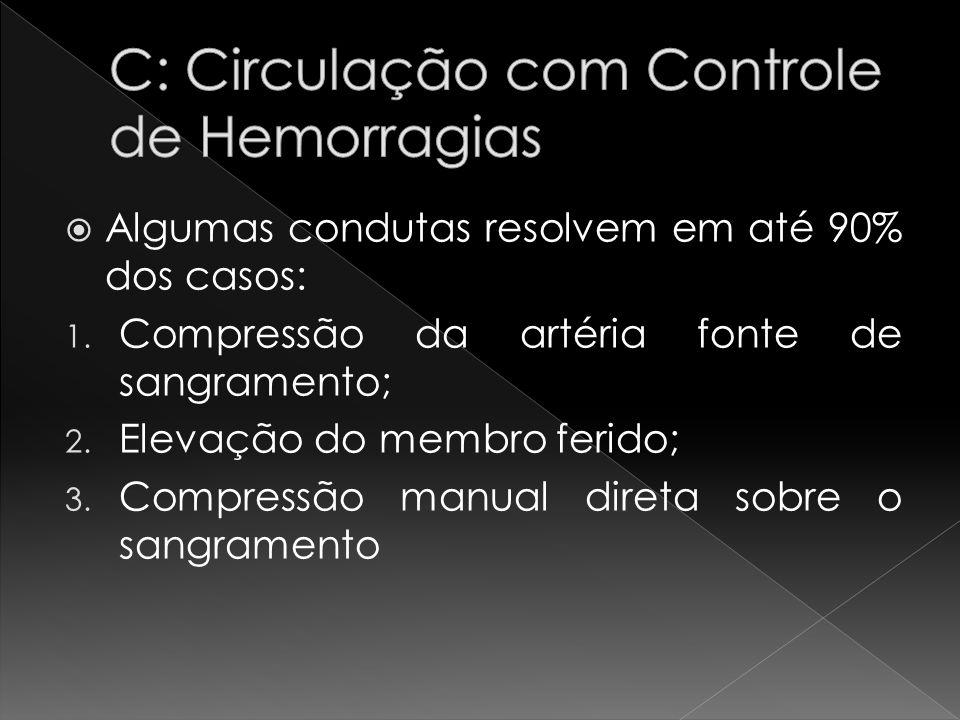 Algumas condutas resolvem em até 90% dos casos: 1. Compressão da artéria fonte de sangramento; 2. Elevação do membro ferido; 3. Compressão manual dire