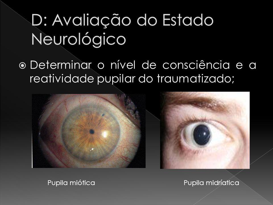 Determinar o nível de consciência e a reatividade pupilar do traumatizado; Pupila miótica Pupila midríatica