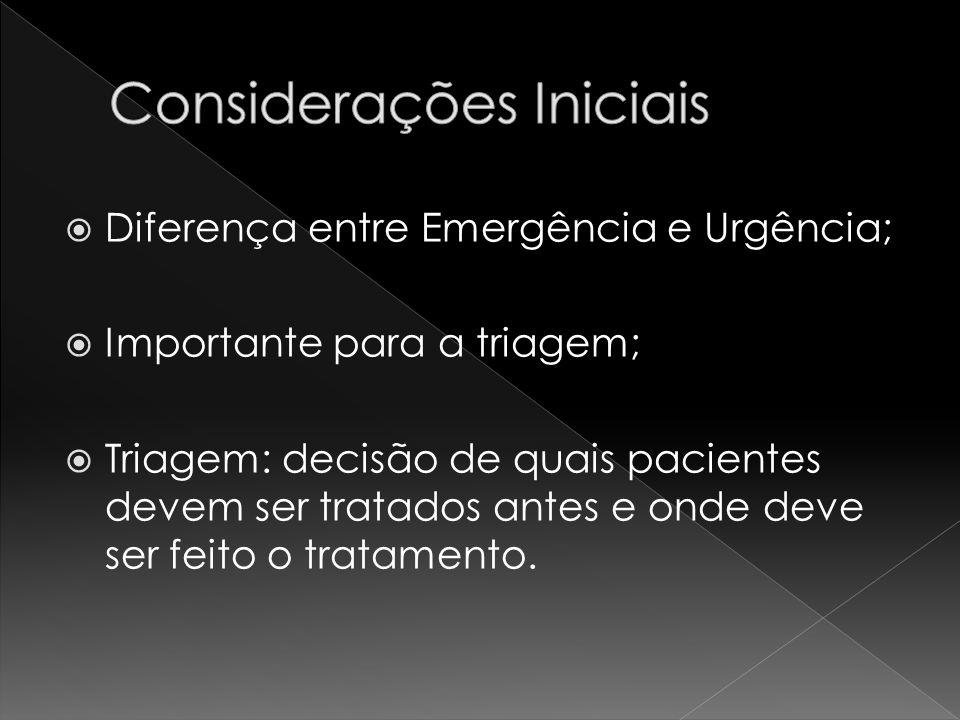 Diferença entre Emergência e Urgência; Importante para a triagem; Triagem: decisão de quais pacientes devem ser tratados antes e onde deve ser feito o