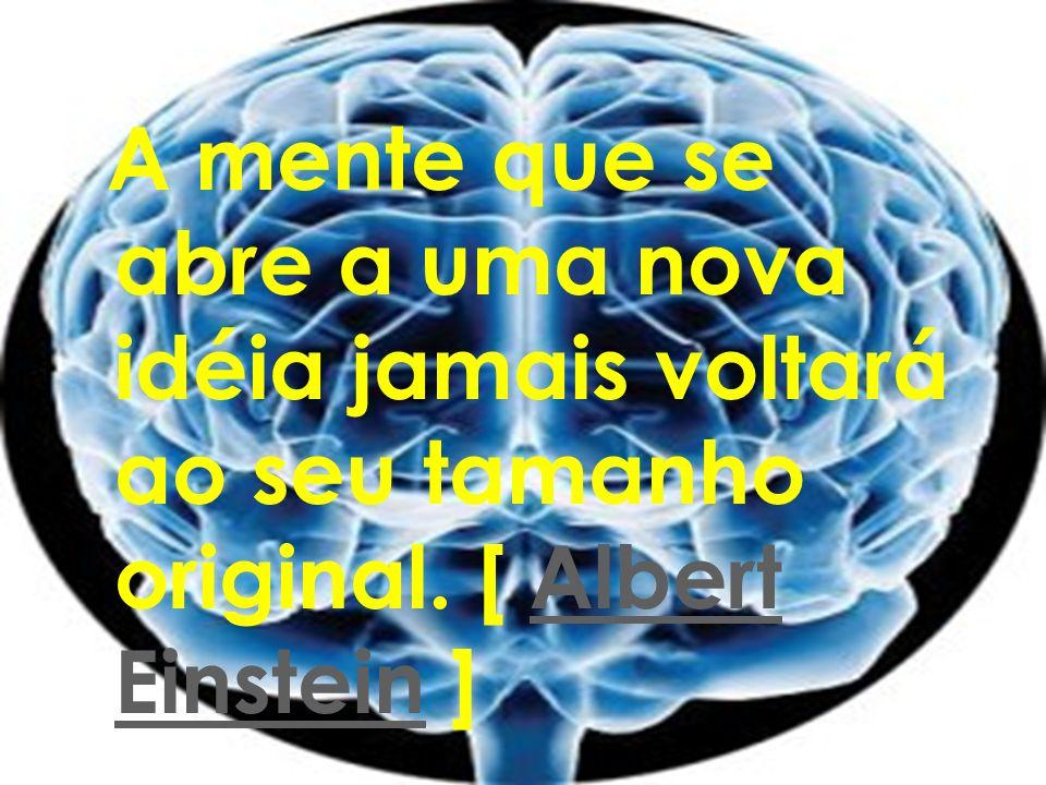A mente que se abre a uma nova idéia jamais voltará ao seu tamanho original. [ Albert Einstein ]Albert Einstein