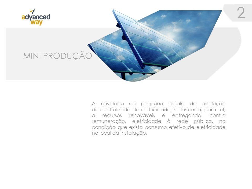 A atividade de pequena escala de produção descentralizada de eletricidade, recorrendo, para tal, a recursos renováveis e entregando, contra remuneração, eletricidade à rede pública, na condição que exista consumo efetivo de eletricidade no local da instalação.