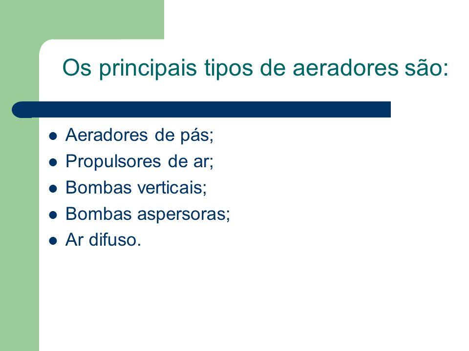 Aeradores de pás; Propulsores de ar; Bombas verticais; Bombas aspersoras; Ar difuso. Os principais tipos de aeradores são: