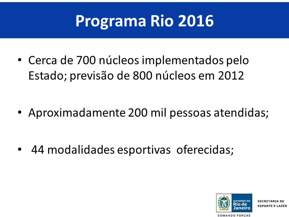 RIO 2016 Programa Rio 2016 Cerca de 700 núcleos implementados pelo Estado; previsão de 800 núcleos em 2012 Aproximadamente 200 mil pessoas atendidas; 44 modalidades esportivas oferecidas;