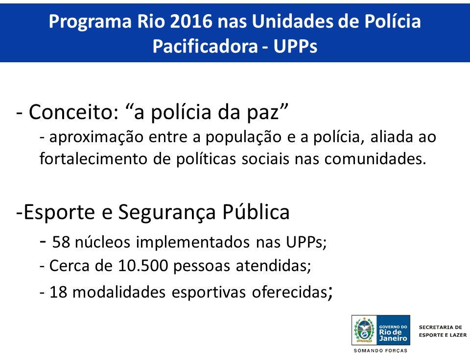 Programa Rio 2016 nas Unidades de Polícia Pacificadora - UPPs - Conceito: a polícia da paz - aproximação entre a população e a polícia, aliada ao fortalecimento de políticas sociais nas comunidades.