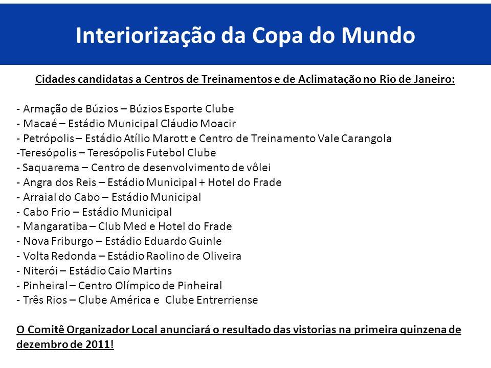 Cidades candidatas a Centros de Treinamentos e de Aclimatação no Rio de Janeiro: - Armação de Búzios – Búzios Esporte Clube - Macaé – Estádio Municipa