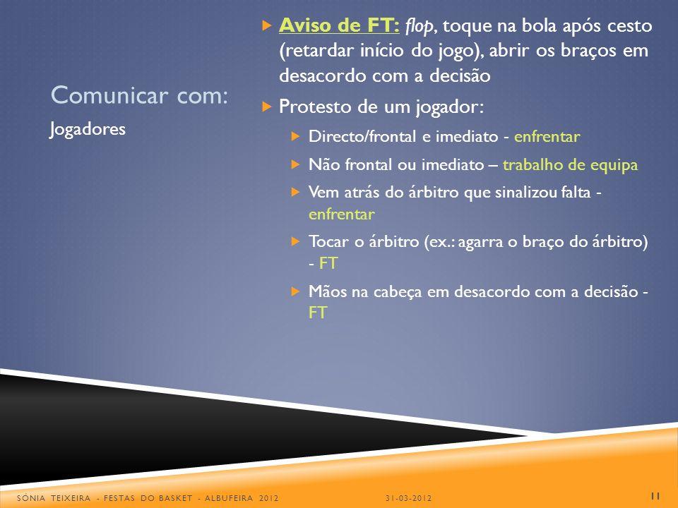 Comunicar com: Aviso de FT: flop, toque na bola após cesto (retardar início do jogo), abrir os braços em desacordo com a decisão Protesto de um jogado