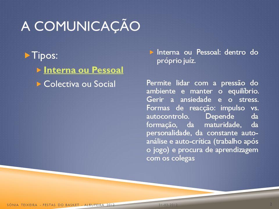 A COMUNICAÇÃO Tipos: Interna ou Pessoal Colectiva ou Social Interna ou Pessoal: dentro do próprio juíz. Permite lidar com a pressão do ambiente e mant